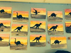 Dino sillohuetes on painted background (no link, just photo) Dinosaur Art Projects, Preschool Projects, Classroom Crafts, Preschool Crafts, Dinosaur Crafts For Preschoolers, Dinosaur Theme Preschool, Dinosaur Activities, Dinosaur Party, Dinosaur Classroom