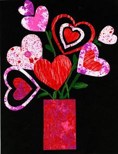 Valentine Collage.  A great way to demonstrate different painting textures and techniques.  Paint papers with different tools and let dry.  Then cut your papers into hearts and make a Valentine bouquet.