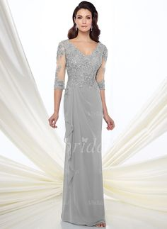 Mother of the Bride Dresses - $154.59 - Sheath/Column V-neck Floor-Length Chiffon Mother of the Bride Dress With Lace Beading Appliques Lace (0085119922)