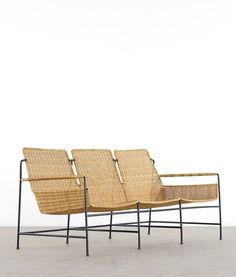 Herta-Maria Witzemann; Enameled Metal and Rattan Sofa for Wilde + Spieth, c1956.