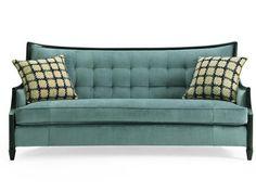 Anette Wood Trim Sofa - Blue