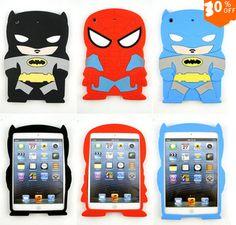 ipad mini Cartoon Cute Black Batman Spider-man 3D Super Hero Silicon Soft Children Back Cover Case for ipad mini 1 2 3