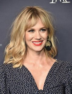 January Jones Medium Wavy Cut with Bangs - January Jones rocked a messy wavy 'do with parted bangs at the 2017 Baby2Baby Gala.