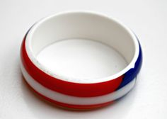 Vintage Red white and Blue Lucite Bangle by serendipitytreasure, $17.00