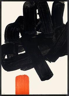 """32. Pierre Soulages (geb. 1919 Rodez) """"Lithographie No. 24b"""" Farblithographie 1969 78,7 x 56,2 cm sign. num. Auflage ca. 85 Exemplare Encrevé/Miessner Kat. Nr. 072 [19988] [21445]"""