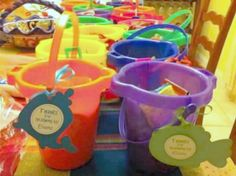 """Gift """"bags"""": So cute for Lauryn's 1st Birthday. Filled with small box of gold fish, bubbles, and tub toys! Probably spent $5 each as well."""