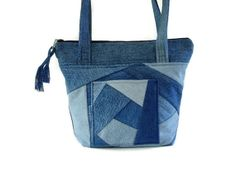 Denim Jean Crazy Quilt Purse Upcycled by SuzqDunaginDesigns, $70.00
