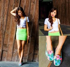 neon green skirt & floral sneakers.