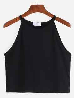 Shop High Neck Crop Cami Top - Black online. SheIn offers High Neck Crop Cami…