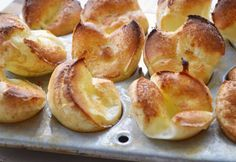 Mini Popovers, really simple; egg, flour, milk, mini muffin pan. Ready to put in the oven in under 5 min. Bakes in 10-12 min.