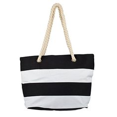 ddba3856169 Lux Accessories Womens Extra Large Zip Up Beach Tote Bag Black White Line   monogrammed