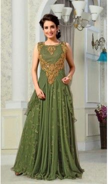 Party Wear Readymade Gown Net and Mehendi Green Color | FH388663613 #gowns , #designer , #womens , #wedding , #evening , #party , @heenastyle , #readymade , #online , #mode