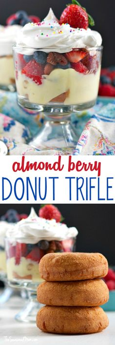 Layers of fresh fruit, roasted almonds, creamy pudding, and cake donuts create a decadent dish that's perfect for a special brunch celebration! In only 15 minutes, you can prepare a beautiful Almond Berry Donut Trifle for a quick and easy make-ahead breakfast or dessert that is sure to wow your guests! #ad