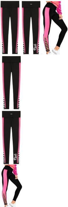 Women Leggings: Victorias Secret Pink Ultimate High Waist Strappy Legging Black Pink L Nwt -> BUY IT NOW ONLY: $59.95 on eBay!