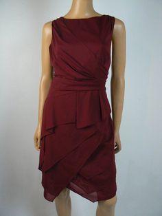 873fd24e5e3 Antonio Melani Burgundy Chiffon Shutter Pleat Tiered Sheath Dress 14 NEW