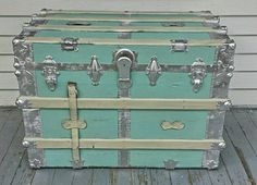 Vintage Painted Steamer Trunk Coffee Table by TheWildflowerMarket This for my window front...