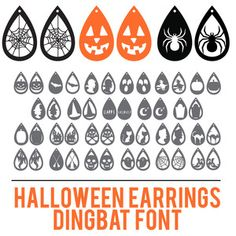 This is a font file. While this font may work in other software programs, it can only be guaranteed to work in Silhouette Studio®. Diy Leather Earrings, Diy Earrings, Cricut Tutorials, Cricut Ideas, Halloween Jewelry, Halloween Earrings Diy, Dingbat Fonts, Silhouette Design, Silhouette Studio