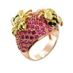 awesome  //  Pavé Dome Bees Ring  by Kenneth Jay Lane