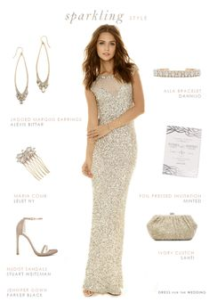 A Sparkling Sequin Wedding Gown. A wedding look featuring a sparkling sequin wedding dress with other picks for sequin wedding dresses, and white sequin gowns for brides.