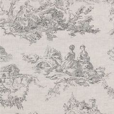 Toile de Poulet Fabric A delightful linen fabric with a toile de jouy design of country scenes, printed in faded grey on a natural linen ground