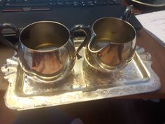 Beautifully detailed silver plated creamer, sugar bowl and tray.P Copper Cream And Sugar, Sugar Bowl, Dog Bowls, Silver Plate, Tea Cups, Tray, Copper, Unique Jewelry, Handmade Gifts