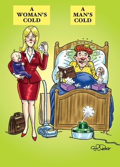 cartoon of woman with a cold who is holding baby dressed for work beside a man with a cold who is tenderly nursing it in bed