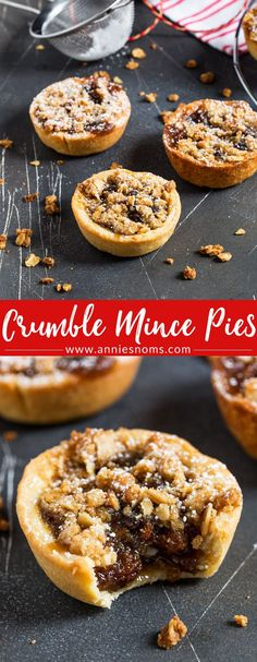 A twist on the classic Mince Pies, these pies have a crunchy, oat topping to contrast with the juicy, sweet filling and crisp homemade pastry outer shell. Tart Recipes, Baking Recipes, Cookie Recipes, Dessert Recipes, Recipes Dinner, Holiday Baking, Christmas Baking, Christmas Mince Pies, Christmas Christmas