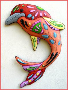 Painted Metal Dolphin Wall Hanging, Metal Decor, Whimsical Art, Nautical Art, Funky Art, Metal Wall Art, Nautical Decor - J-458-OR by TropicAccents on Etsy