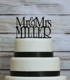 Personalized Custom Wedding Cake Topper with YOUR Last Name. $30.00, via Etsy.