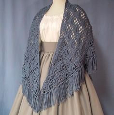 Blue Shawl - Historical Costume - Victorian Wrap - Civil War Accessory - Hand Crocheted