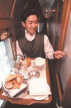 Breakfast in your cabin - Eastern Oriental Luxury Train Orient Express, By Train, Train Tracks, Train Journey, Train Trip, Four Season Tent, Trains, Luxury Tents, Chiang Mai