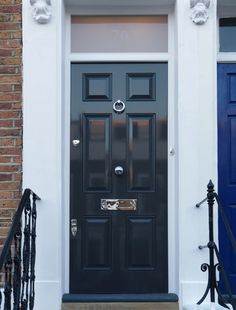A smart Victorian front door in Farrow & Ball \'Railings\' with ...