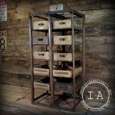 Vintage Industrial Angle Steel Factory Storage Rack Shelf w/ Vintage Pepsi-Cola 7up Wooden Boxes. $245.00, via Etsy. tv storage living room: