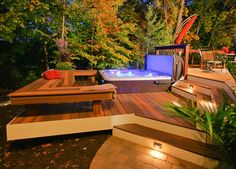 Backyard Deck Design by no means walk out types. Backyard Deck Design may be embellished in several techniques every househol Spa Design, Deck Design, Design Ideas, Landscape Design, Railing Design, Design Inspiration, Hot Tub Deck, Hot Tub Backyard, Backyard Pools
