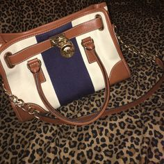 Michael Kors Purse Spring edition, canvas style with gold accents and shoulder strap. Michael Kors Bags Totes