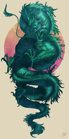 Jade Dragon by Lydia Praamsma  This would be perfect if it was wrapping itself around a badass lion. ❤️