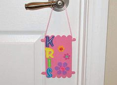 This would be fun for kids to do @ at an after school activity ( or summer camp) or sometime when the they are hanging with friends during weekend afternoons , the summer vacation, etc.  Kids Crafts - Craft Stick Door Hanger - Classic, Easy Craft Ideas - Kaboose.com