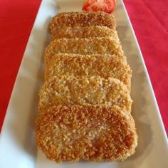 Breaded SPAM Steaks - All you need is two eggs and a few non-perishable ingredients including vegetable/canola oil, one oz.) can canned luncheon meat (SPAM), all purpose flour and seasoned bread crumbs. Spam Recipes, Pork Recipes, Cooking Recipes, Cooking Stuff, Fried Spam, Canned Meat, Seasoned Bread Crumbs, Snacks To Make, Pinoy Food