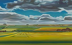 Anna Dillon the Artist - The Wiltshire Series  View towards Hackpen Hill from Broad Hinton.