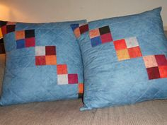 two 20 inch quilted pillow covers by sewingneedles on Etsy, $35.00