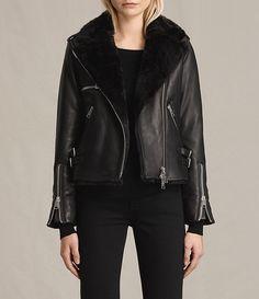 Womens Higgens Lux Leather Biker Jacket (Black/Black) faux fur lining $492 | All Saints