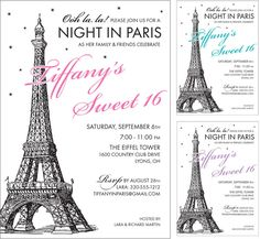 Ideas Birthday Invitations Sweet 16 Paris Theme For 2019 Paris Invitations, Sweet 16 Invitations, Birthday Invitations, Wedding Invitations, Wedding Stationery, Invitation Cards, Invite, Thema Paris, Paris Sweet 16