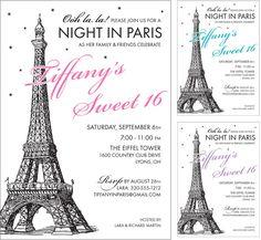 Ideas Birthday Invitations Sweet 16 Paris Theme For 2019 Paris Invitations, Sweet 16 Invitations, Birthday Invitations, Wedding Invitations, Wedding Stationery, Invitation Cards, Invite, Paris Themed Birthday Party, 16th Birthday
