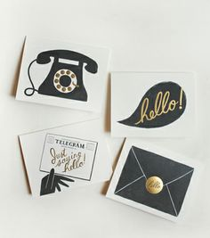 Assorted Hello Cards from Rifle Paper Co. Perfect for framing and hanging in an old-fashioned telephone nook.
