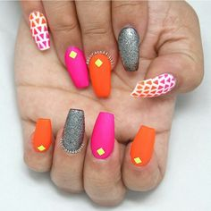 Pretty bright nails by @decorateddigits featuring our neon studs  available at Dailycharme.com  #Padgram