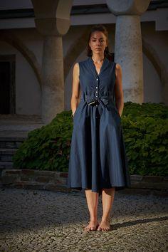 Scarti Lab Sleeveless Buttoned Dress W404-SB317 Indigo Revere Collar, Vintage Inspired, Indigo, Lab, Buttons, Summer Dresses, Fabric, Pattern, How To Make