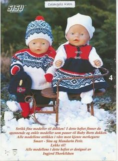 Beautifully dressed up dolls. The Norwegian Marius knitting pattern. Knitting Dolls Clothes, Knitted Dolls, Doll Clothes Patterns, Doll Patterns, Knitting For Kids, Baby Knitting, Boy Doll, Girl Dolls, Baby Born Clothes