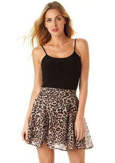 Piper Cheetah Skater Skirt - View All Skirts - Skirts - Clothing - Alloy Apparel
