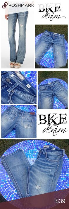 """GORGEOUS! BKE distressed Culture bootcut jeans 31L Incredibly gorgeous BKE Culture bootcut jeans feature stylish distressing & fading in just the right places, super pretty, signature back pockets & beautiful thick, white stitching throughout!  Made from 93% cotton, 6% polyester & 1% spandex for an incredible stretch that seriously feels as great on as they look!  Size reads 31L & waist measures 16.5"""" with a 9"""" rise & inseam of 32"""".  Retail at $89!  No trades please.  Gently worn, in…"""