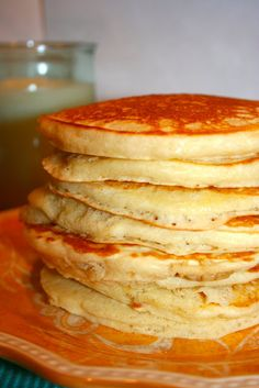 These are the yummiest, fluffiest pancakes I've ever eaten. Seriously.  Pancakes - 1 ½ c all-purpose flour  3 ½ t. baking powder , 1 t salt, 1 T Sugar,  1 ¼ c milk, 1 egg,  3 T melted unsalted butter,   1 t vanilla extract.     Makes 12 pancakes